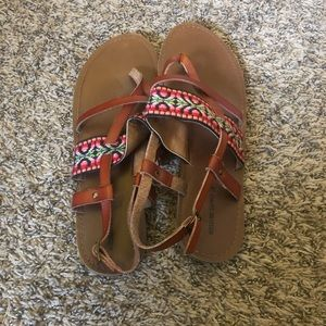 Women Size 11 Mossimo Leather Strap Sandals Tribal